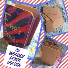 kids craft wooden pencil holder